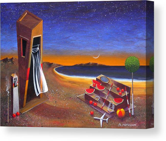 Landscape Canvas Print featuring the painting The School Of Metaphysical Thought by Dimitris Milionis