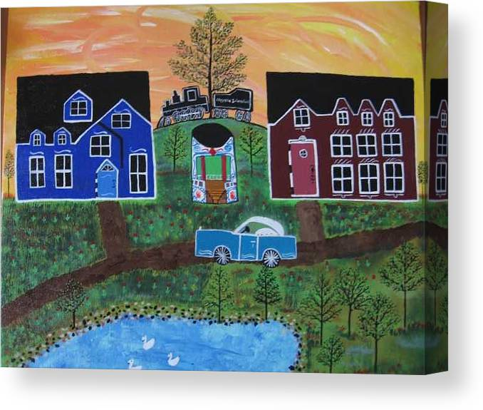 Folk Art Village With Car Canvas Print featuring the painting The Train At Galakendra's Elm by Mike Filippello