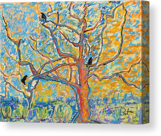 Abstract Painting Canvas Print featuring the mixed media The Wind Dancers by Pat Saunders-White