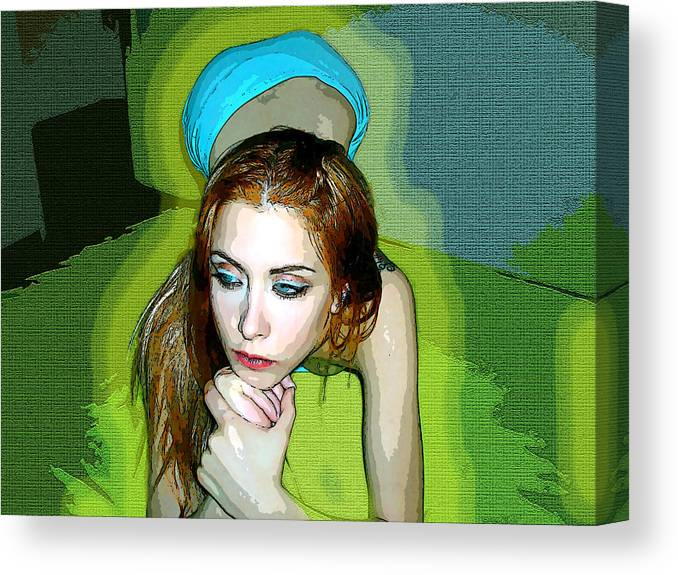 Women Canvas Print featuring the photograph Thinking by Francisco Colon
