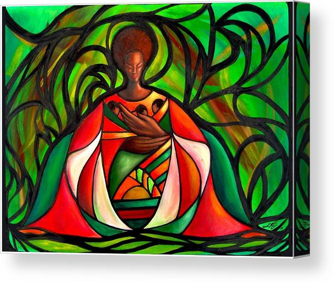Canvas Print featuring the painting Three Little Birds by Lee Grissett