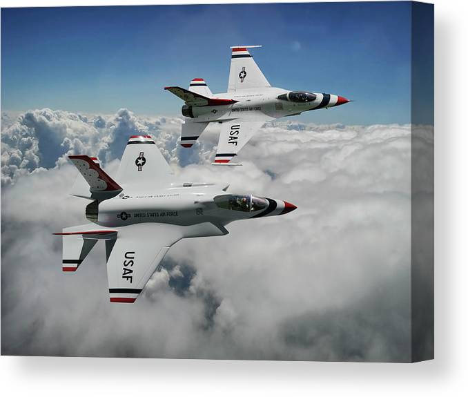 U.s. Air Force Thunderbirds Aerial Demonstration Team Canvas Print featuring the mixed media Thunderbirds Of The Future by Erik Simonsen