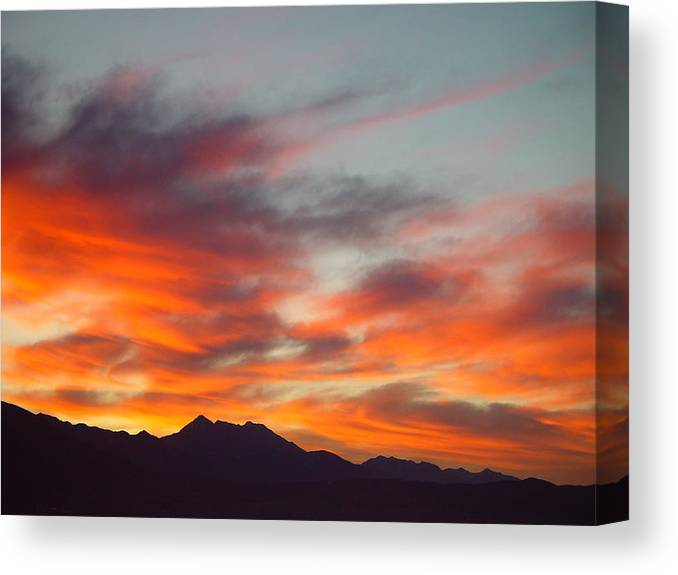Sunrise Canvas Print featuring the painting Timponogos Sunrise by Derek Nielsen