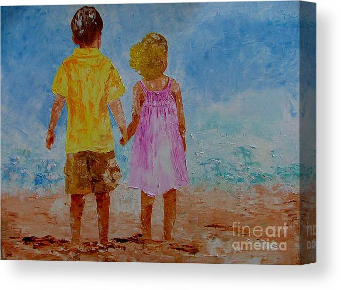 Boy Canvas Print featuring the painting Together by Inna Montano