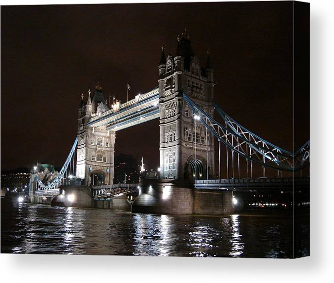 Tower Bridge Canvas Print featuring the photograph Tower Bridge By Night by Roberto Alamino