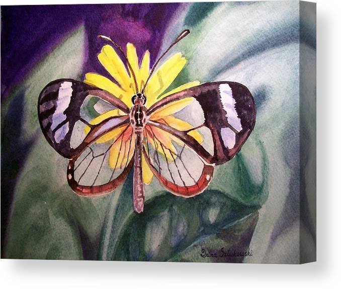 Transparent Canvas Print featuring the painting Transparent Butterfly by Irina Sztukowski