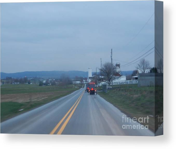 Amish Canvas Print featuring the photograph Traveling Home After Easter Monday Gatherings by Christine Clark