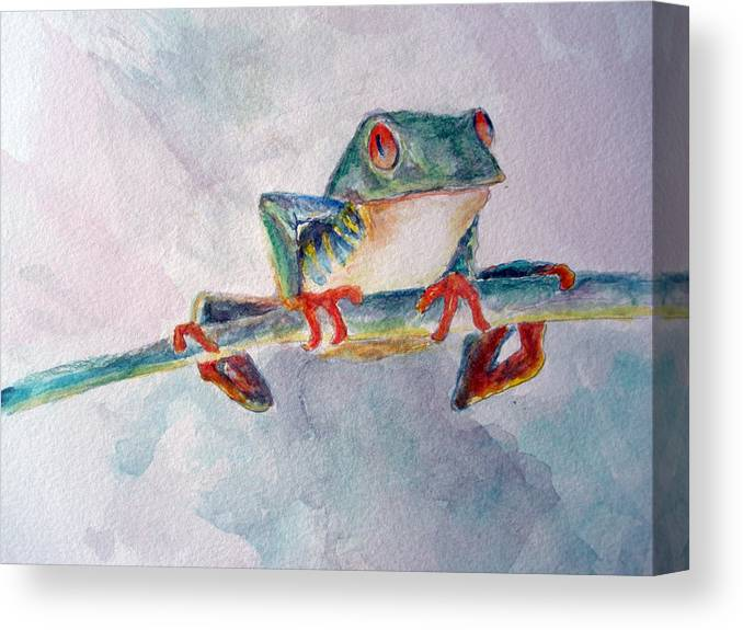 Frogs Canvas Print featuring the painting Tree Frog by Mike Segura