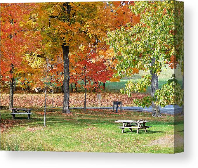 Oregon Canvas Print featuring the painting Trees Begins Autumn Color by Jeelan Clark
