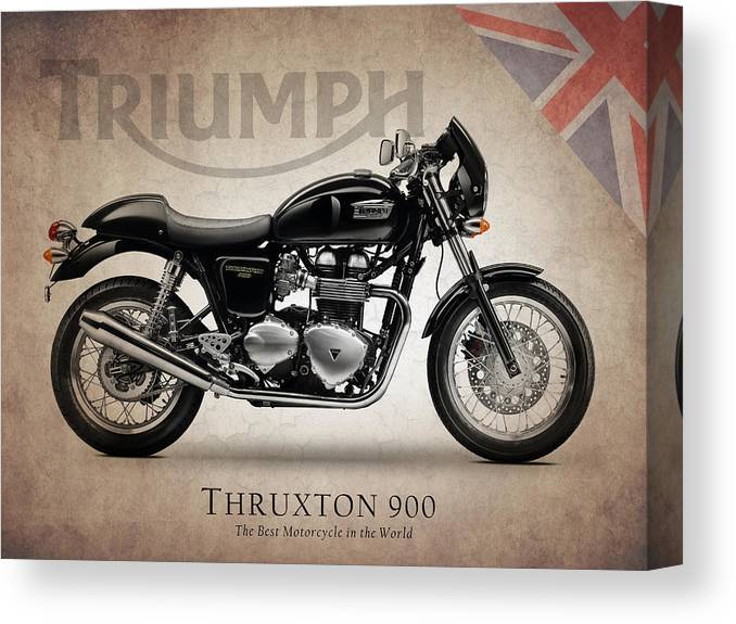 Triumph Bonneville Canvas Print featuring the photograph Triumph Thruxton 900 by Mark Rogan
