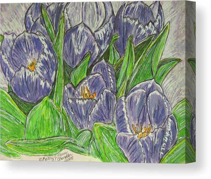 Tulips Canvas Print featuring the painting Tulips In The Spring by Kathy Marrs Chandler