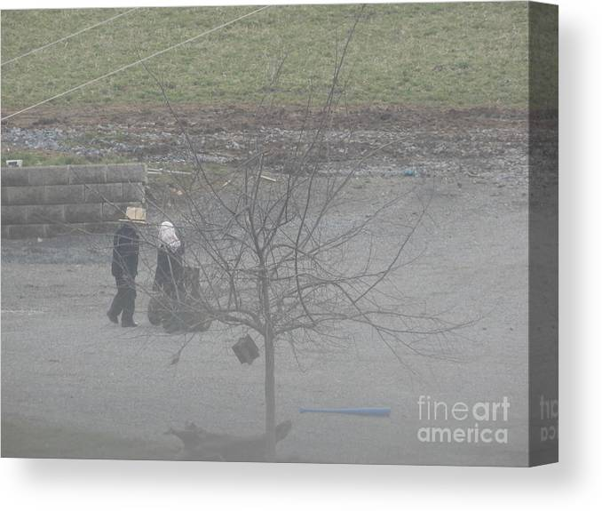 Amish Canvas Print featuring the photograph Two Little Buddies by Christine Clark