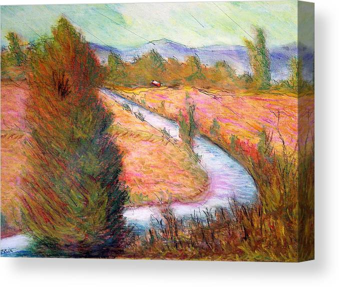 Umbrian Canvas Print featuring the pastel Umbrian Landscape by Tom Herrin