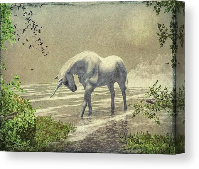 Unicorn Canvas Print featuring the painting Unicorn Moon by Bob Orsillo