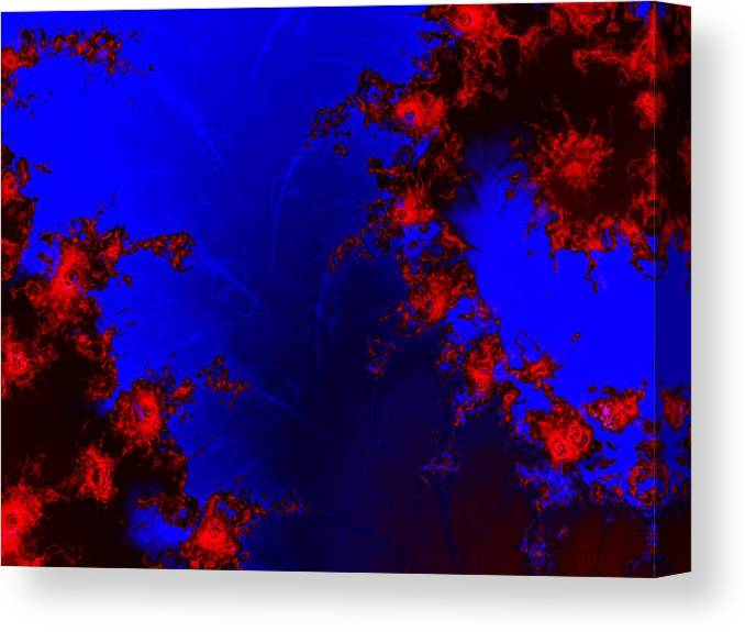 Lava Flow Wind Rythm Volcano Red Blue Canvas Print featuring the digital art Volcano by Veronica Jackson