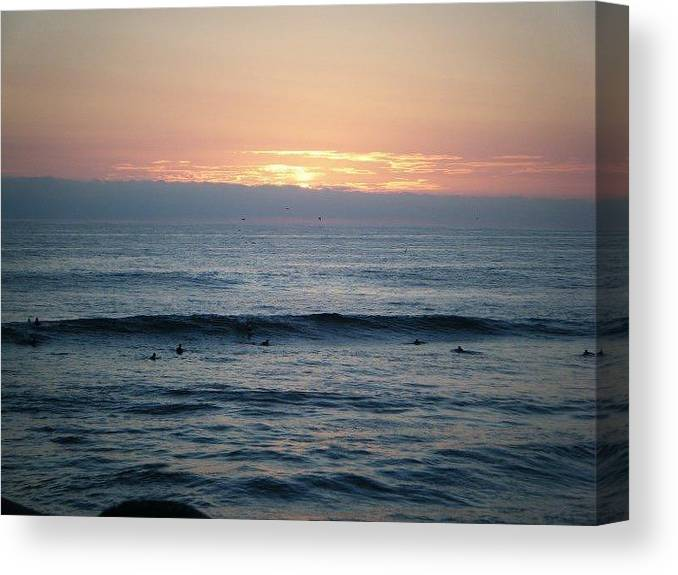 Sunset Canvas Print featuring the photograph Waiting On A Wave by Melody Glennon