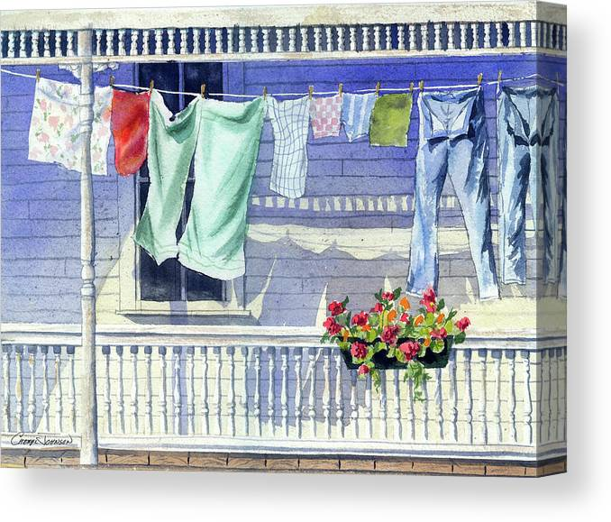 Washing Canvas Print featuring the painting Wash Day by Cheryl Johnson