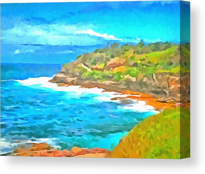 Cliffs Canvas Print featuring the photograph Water Gushing In On A Natural Cove by Ashish Agarwal