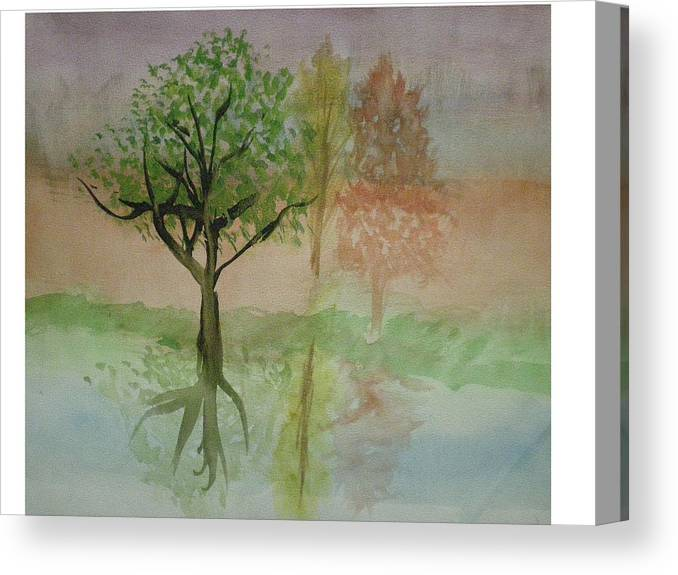 Landscape Canvas Print featuring the painting Water Trees by Hal Newhouser