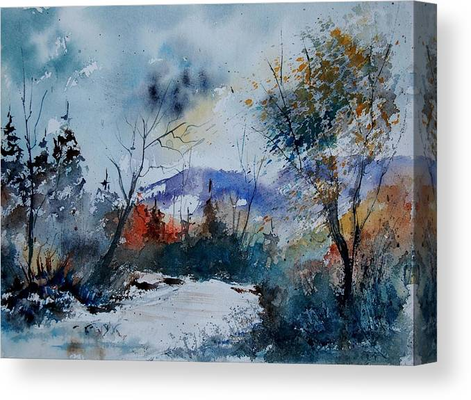 Landscape Canvas Print featuring the painting Watercolor 802120 by Pol Ledent