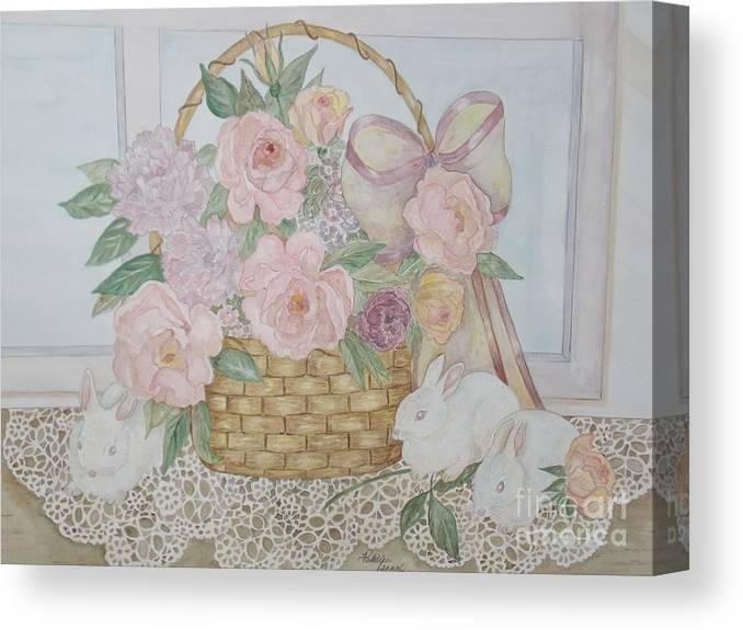 Wicker Basket Canvas Print featuring the painting Wicker And Old Lace by Patti Lennox