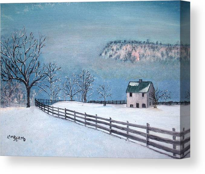 Landscape Canvas Print featuring the painting Winter Refuge by L A Raven