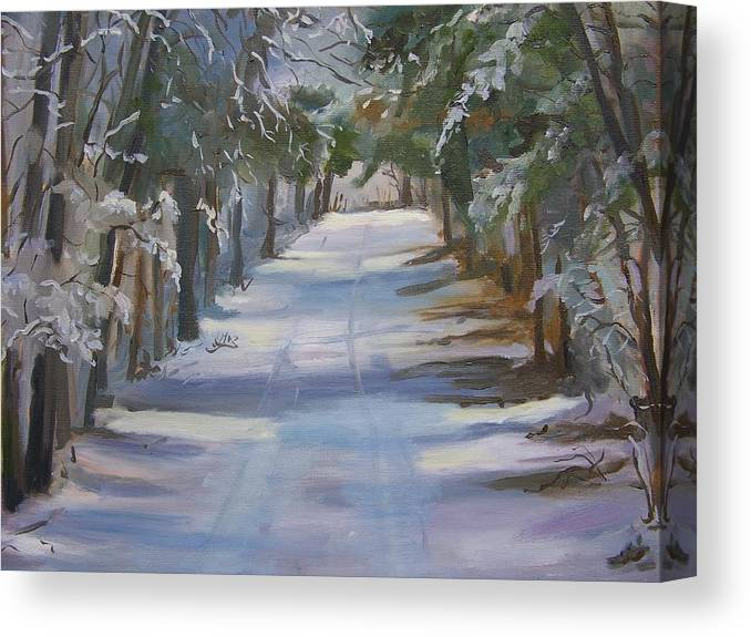 Landscape Canvas Print featuring the painting Winter Walk In The Woods by Georgeanne Wayman