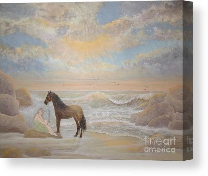 Horse Canvas Print featuring the painting With A Song In My Heart by Patti Lennox