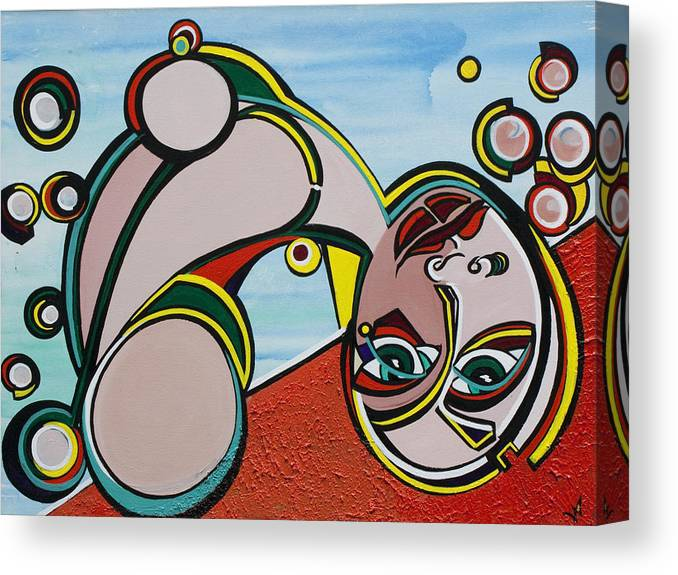 Abstract Canvas Print featuring the painting Woman by Valerie Wolf