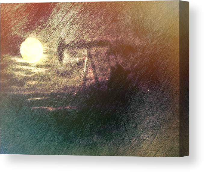 Canvas Print featuring the digital art Wyoming Pump Jack by Cathy Anderson