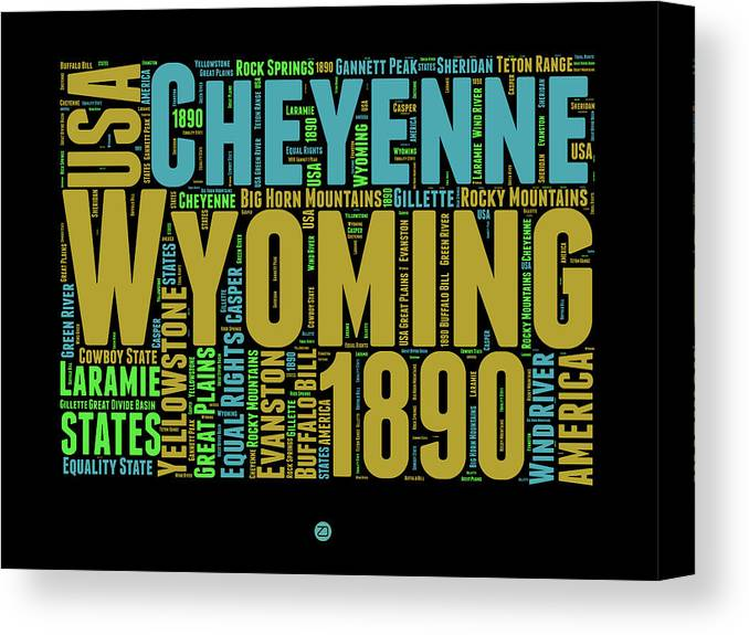 Wyoming Canvas Print featuring the digital art Wyoming Word Cloud Map 1 by Naxart Studio
