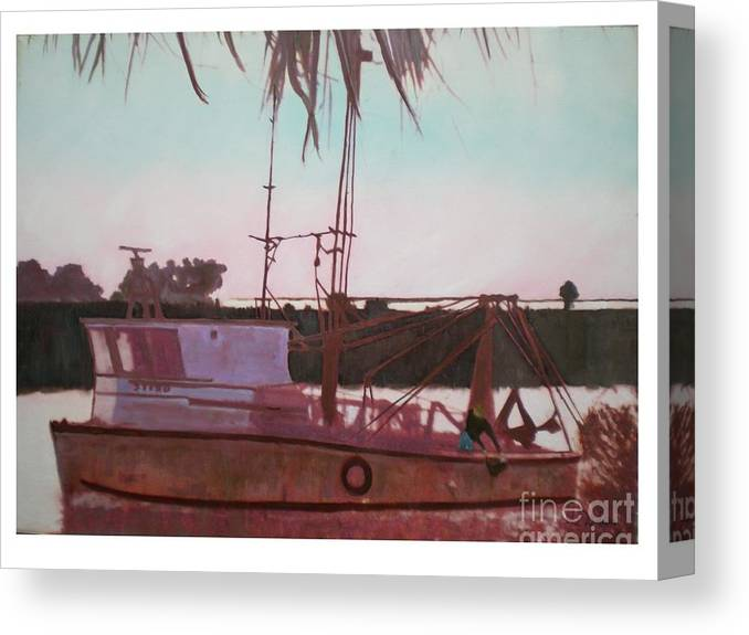 Seascape Canvas Print featuring the digital art Yankee Town Fishing Boat by Hal Newhouser