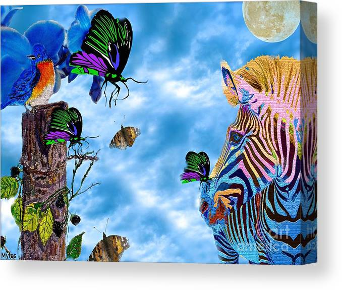 Zebra Canvas Print featuring the painting Zebras Birds And Butterflies Good Morning My Friends by Saundra Myles