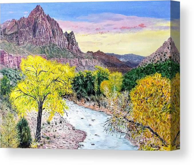 Zion National Park Canvas Print featuring the painting Zion Creek by Kevin Daly