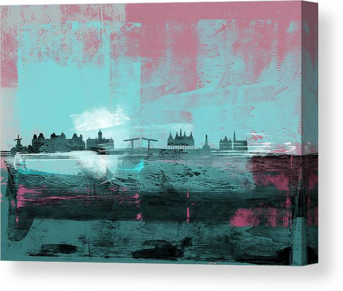 Amsterdam Canvas Print featuring the mixed media Amsterdam Abstract Skyline I by Naxart Studio
