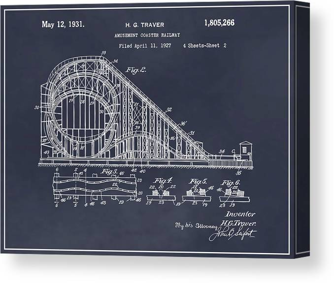 1927 Roller Coaster Patent Print Canvas Print featuring the drawing 1927 Roller Coaster Blackboard Patent Print by Greg Edwards