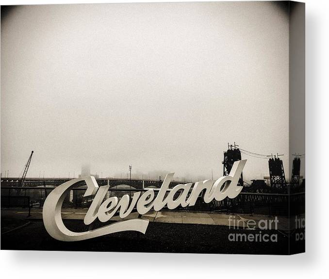 A Foggy Cleveland Morning Fog Canvas Print featuring the photograph A Foggy Cleveland Morning by Michael Krek