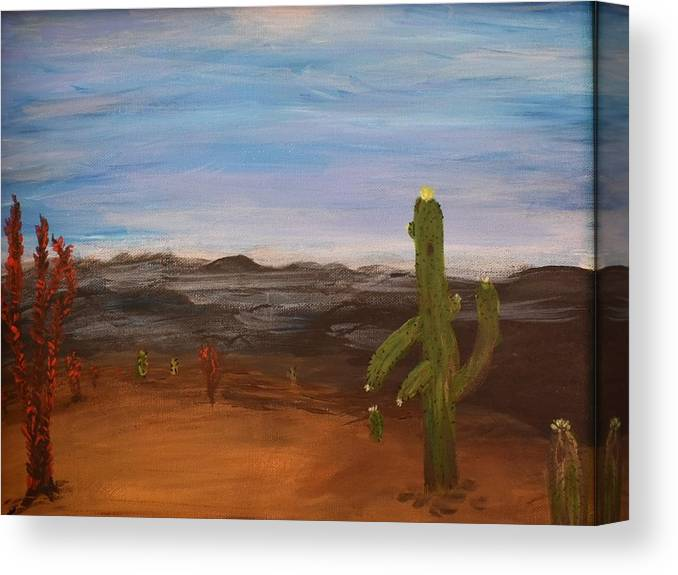 Cactus Canvas Print featuring the painting Cactus Bloom by Susan Voidets