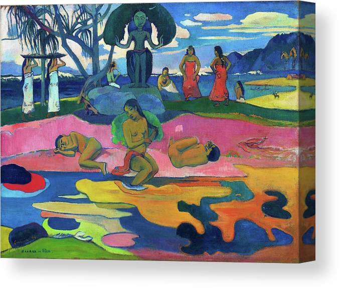 Paul Gauguin Canvas Print featuring the painting Day Of The God - Digital Remastered Edition by Paul Gauguin