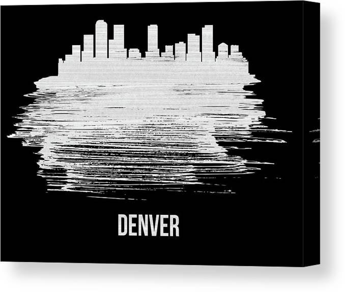 Denver Canvas Print featuring the mixed media Denver Skyline Brush Stroke White by Naxart Studio