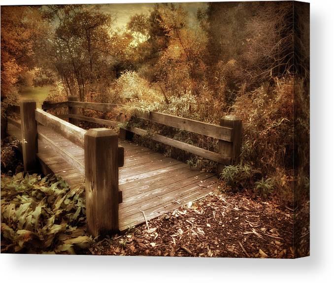 Footbridge Canvas Print featuring the photograph Footbridge Crossing by Jessica Jenney