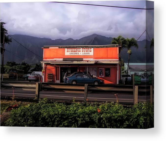 #hawaii Canvas Print featuring the photograph Hygienic Store, Kahalu'u by Cornelia DeDona