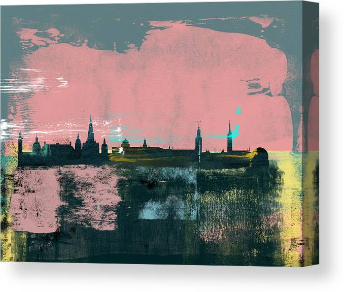 Stockholm Canvas Print featuring the mixed media Stockholm Abstract Skyline II by Naxart Studio