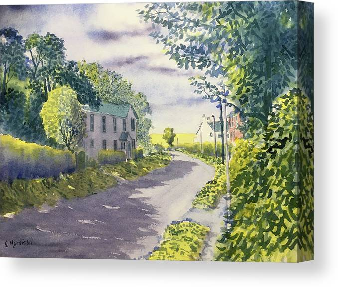 Watercolour Canvas Print featuring the painting Sunny Side Of The Street by Glenn Marshall