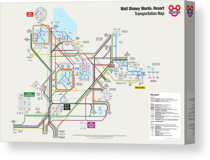 Walt Disney World Resort Transportation Map Canvas Print