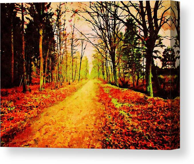 Winsen Canvas Print featuring the painting Winsen Luhe Germany - Nature Reserve High Wood - Watercolor Painting by Patricia Piotrak