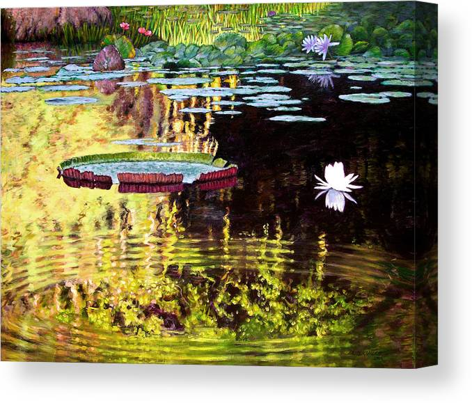Garden Pond Canvas Print featuring the painting Ripples On A Quiet Pond by John Lautermilch