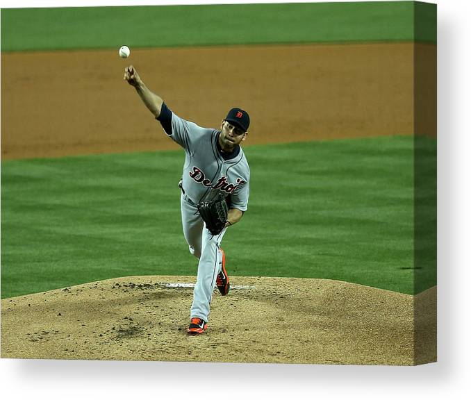 American League Baseball Canvas Print featuring the photograph Anibal Sanchez by Stephen Dunn