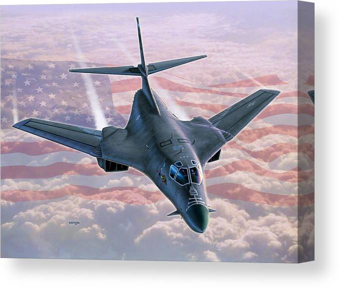 B-1 Canvas Print featuring the painting B-1 Above The Clouds by Stu Shepherd