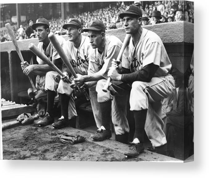 People Canvas Print featuring the photograph Hank Greenberg And Goose Goslin by Fpg